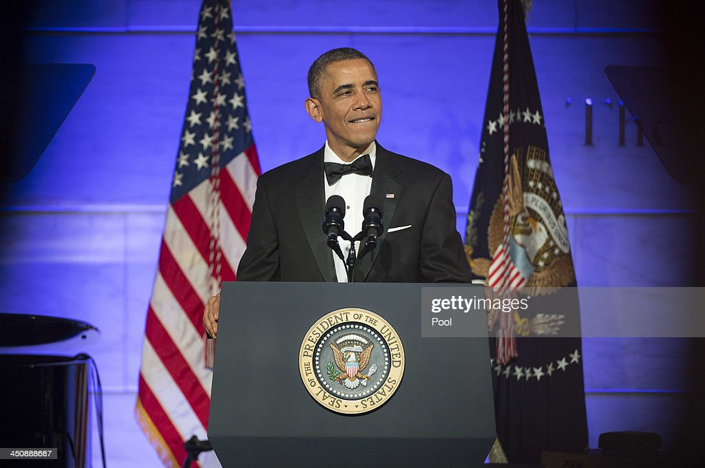 U.S. President Barack Obama delivers remarks at a dinner in honor of the Medal of Freedom awardees at the Smithsonian National Museum of American History on November 20, 2013 in Washington, DC. The Presidential Medal of Freedom is the nation's highest civilian honor, presented to individuals who have made meritorious contributions to the security or national interests of the United States, to world peace, or to cultural or other significant public or private endeavors.