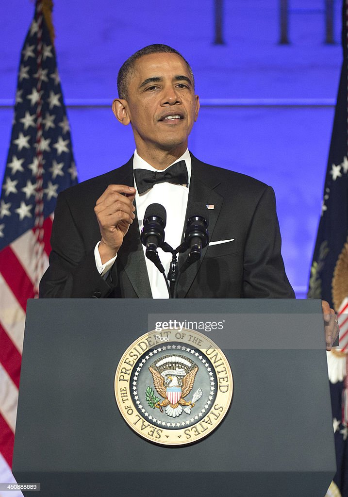 U.S. President <a gi-track='captionPersonalityLinkClicked' href=/galleries/search?phrase=Barack+Obama&family=editorial&specificpeople=203260 ng-click='$event.stopPropagation()'>Barack Obama</a> delivers remarks at a dinner in honor of the Medal of Freedom awardees at the Smithsonian National Museum of American History on November 20, 2013 in Washington, DC. The Presidential Medal of Freedom is the nation's highest civilian honor, presented to individuals who have made meritorious contributions to the security or national interests of the United States, to world peace, or to cultural or other significant public or private endeavors.