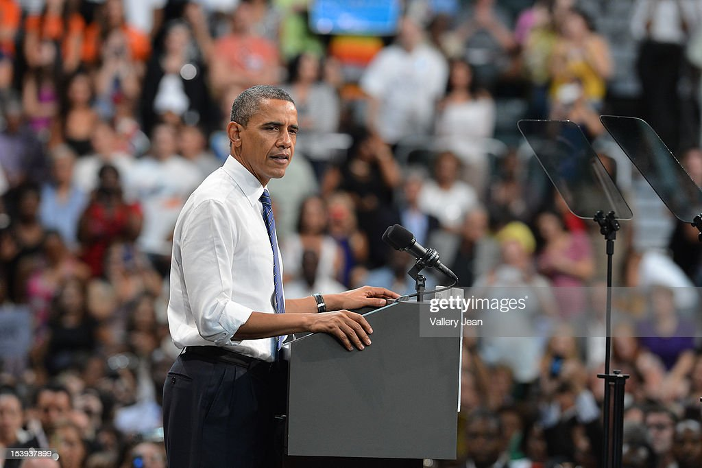 U.S. President Barack Obama delivers remarks at a grassroots event at Bank United Center on October 11, 2012 in Miami, Florida.