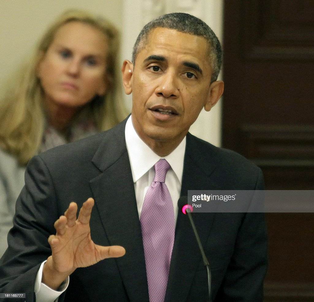 U.S. President Barack Obama delivers remarks at a meeting of his Export Council in the Eisenhower Executive Office Building on September 19, 2013 in Washington, D.C. Obama met with new council members from the hospitality, defense and pharmaceutical industries, where he spoke on the economy in addition to the budget standoff with Congress.