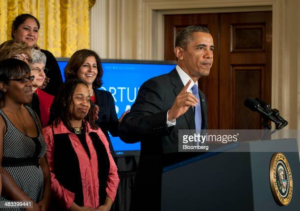US President Barack Obama delivers remarks at an event marking Equal Pay Day in the East Room of the White House in Washington DC US on Tuesday April...