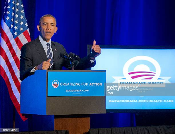President Barack Obama delivers remarks at an Organizing for Action 'Obamacare Summit' at the St Regis Hotel on November 4 2013 in Washington DC...