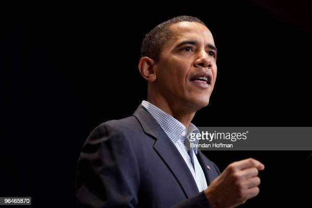 President Barack Obama delivers remarks at the Democratic National Committee winter meeting on February 6 2010 in Washington DC Top party officials...