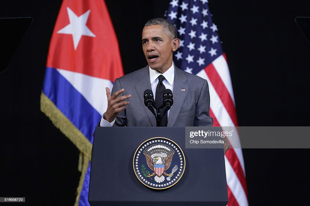 U.S. President <a gi-track='captionPersonalityLinkClicked' href=/galleries/search?phrase=Barack+Obama&family=editorial&specificpeople=203260 ng-click='$event.stopPropagation()'>Barack Obama</a> delivers remarks at the Gran Teatro de la Habana Alicia Alonso in the hisoric Habana Vieja, or Old Havana, neighborhood March 22, 2016 in Havana, Cuba. Described as a message to the Cuban people about his vision for the future of Cuba, Obama's speech will be nationally televised to the 11 million people on the communist-controlled island.