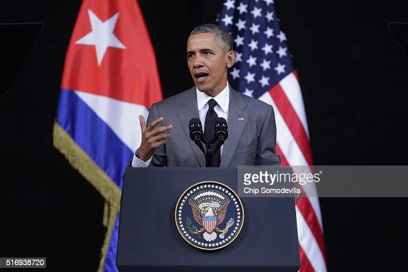 S President Barack Obama delivers remarks at the Gran Teatro de la Habana Alicia Alonso in the hisoric Habana Vieja or Old Havana neighborhood March...