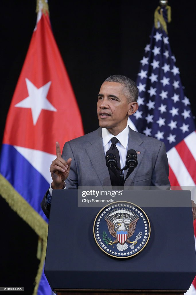 President Obama Delivers Speech At Gran Teatro In Havana