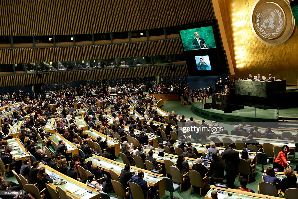 S President Barack Obama delivers remarks at the United Nations Sustainable Development Summit September 27 2015 at United Nations headquarters in...