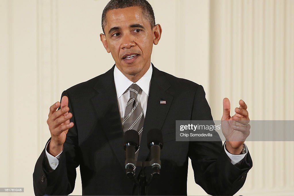 U.S. President <a gi-track='captionPersonalityLinkClicked' href=/galleries/search?phrase=Barack+Obama&family=editorial&specificpeople=203260 ng-click='$event.stopPropagation()'>Barack Obama</a> delivers remarks before presenting recepients with the 2012 Presidential Citizens Medal, the nation's second-highest civilian honor, in the East Room of the White House February 15, 2013 in Washington, DC. 'Their selflessness and courage inspire us all to look for opportunities to better serve our communities and our country,' Obama said about this year's recepients.