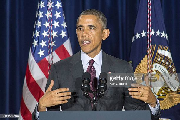 President Barack Obama delivers remarks congratulating Mrs Francis Collins and Tony Fauci and their teams on the first published results from Phase 1...