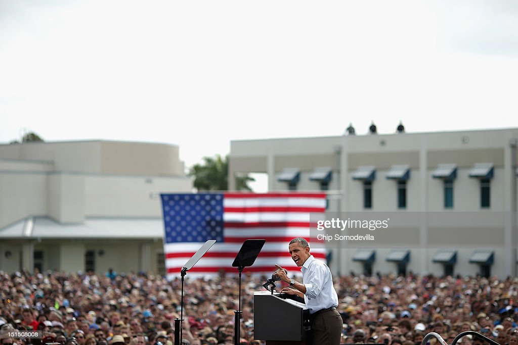 U.S. President <a gi-track='captionPersonalityLinkClicked' href=/galleries/search?phrase=Barack+Obama&family=editorial&specificpeople=203260 ng-click='$event.stopPropagation()'>Barack Obama</a> delivers remarks during a campaign on the campus of St. Petersburg College September 8, 2012 in St Petersburg, Florida. Working with the momentum from this week's Democratic National Convention, Obama is doing a two-day campaign swing from one side of Florida to the other on the politically important I-4 corridor.