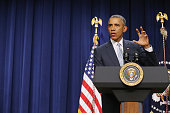 US President Barack Obama delivers remarks during a gathering of criminal actors hiphip artists justice activists state and local elected officials...