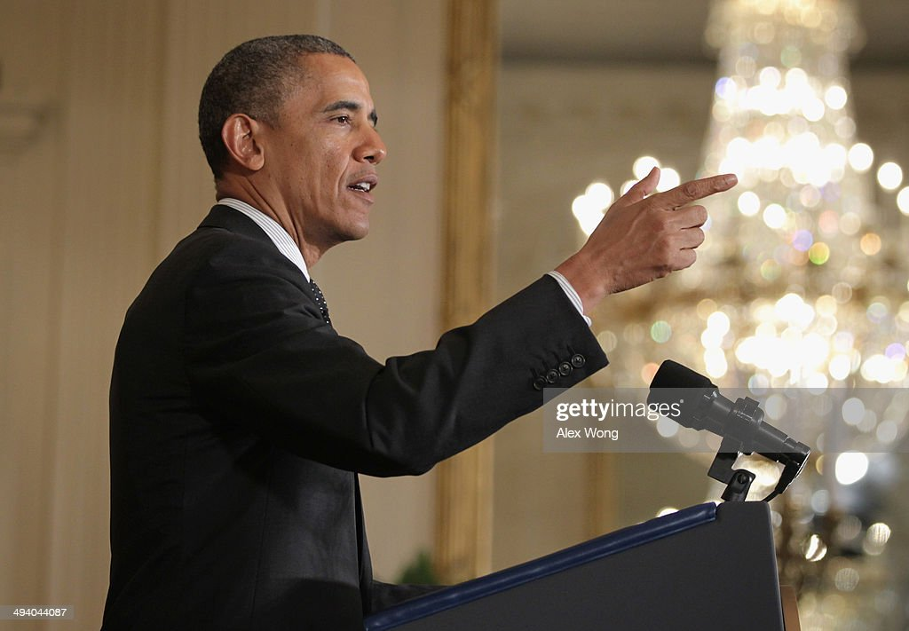 U.S. President <a gi-track='captionPersonalityLinkClicked' href=/galleries/search?phrase=Barack+Obama&family=editorial&specificpeople=203260 ng-click='$event.stopPropagation()'>Barack Obama</a> delivers remarks during the 2014 White House Science Fair at the East Room of the White House May 27, 2014 in Washington, DC. President Obama hosted the science fair to announce new steps as part of his Educate to Innovate campaign, and celebrated student winners of a range of science, technology, engineering and math (STEM) competitions from across the country.