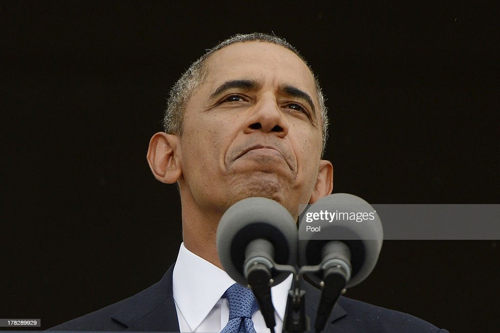 US President <a gi-track='captionPersonalityLinkClicked' href=/galleries/search?phrase=Barack+Obama&family=editorial&specificpeople=203260 ng-click='$event.stopPropagation()'>Barack Obama</a> delivers remarks during the 'Let Freedom Ring' commemoration event, at the Lincoln Memorial August 28, 2013 in Washington, DC. The event was to commemorate the 50th anniversary of Dr. Martin Luther King Jr.'s 'I Have a Dream' speech and the March on Washington for Jobs and Freedom.