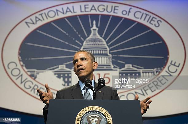 US President Barack Obama delivers remarks during the National League of Cities annual Congressional City Conference in Washington DC March 9 2015...