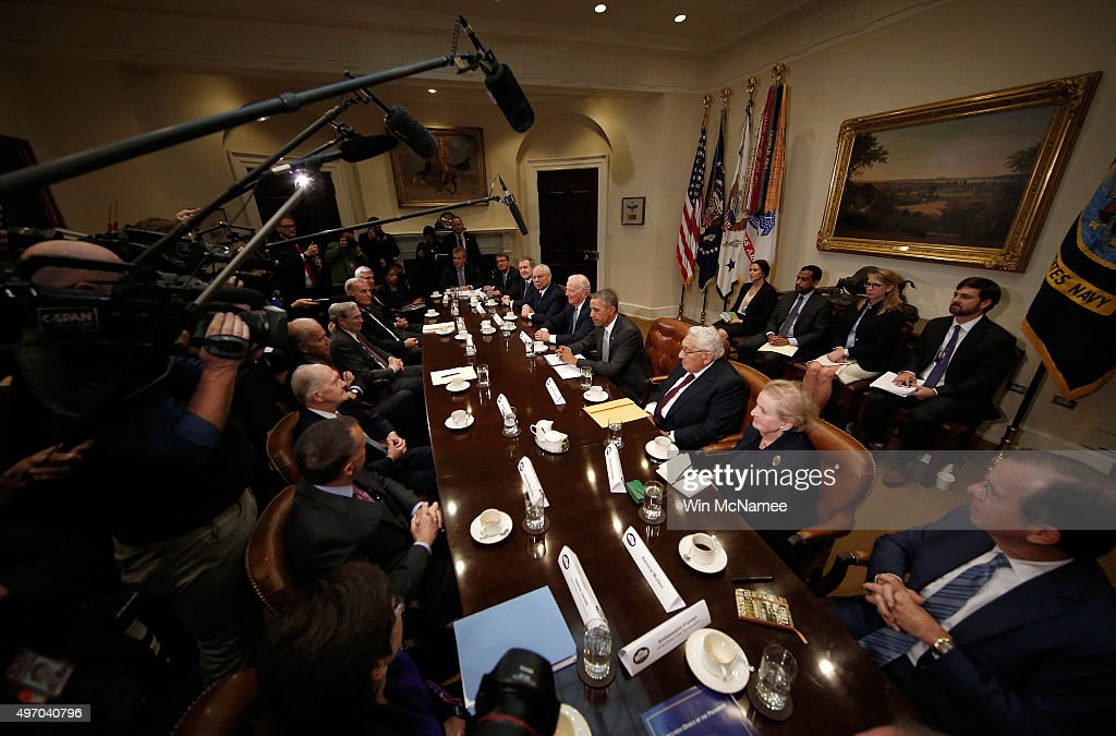U.S. President Barack Obama delivers remarks following a meeting with present and former national security leaders in the Roosevelt Room of the White House November 13, 2015 in Washington, DC. Obama met with the national security leaders on the national security implications of the Trans Pacific Partnership trade pact. Joining Obama at the meeting were Madeleine Albright, former Secretary of State; James Baker, former Secretary of State; Bill Cohen, Former Secretary of Defense; Stephen Hadley, Former National Security Advisor; James Jones, General, Former National Security Advisor; Henry Kissinger, Former Secretary of State; Samuel Locklear, Admiral, Commander, U.S. Pacific Command; Mike Mullen, Admiral, Former Chairman of the Joint Chiefs; Colin Powell, General, Former Secretary of State, Chairman of the Joint Chiefs and National Security Advisor; Brent Scowcroft, Former National Security Advisor; James Winnefeld, Admiral, Former Vice Chairman of the Joint Chiefs of Staff; Vice President Joe Biden; Ash Carter, Secretary of Defense; Mike Froman, United States Trade Representative; Valerie Jarrett, Senior Advisor and Assistant to the President for Intergovernmental Affairs and Public Engagement; Susan Rice, Assistant to the President for National Security Affairs; and Jeff Zients, Assistant to the President for Economic Policy and Director of the National Economic Council.