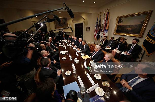 S President Barack Obama delivers remarks following a meeting with present and former national security leaders in the Roosevelt Room of the White...