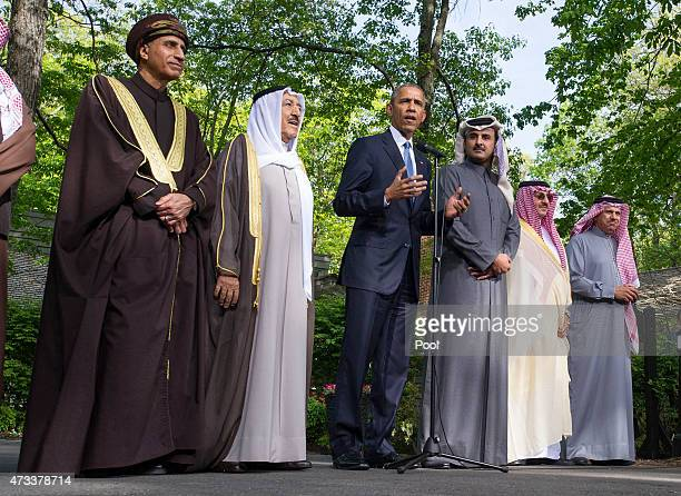 S President Barack Obama delivers remarks following the Gulf Cooperation CouncilUS summit on May 14 2015 at Camp David Maryland Obama was joined by...