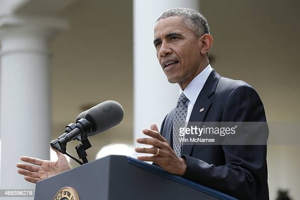 S President Barack Obama delivers remarks in the Rose Garden of the White House on negotiations with Iran over their nuclear program on April 2 2015...