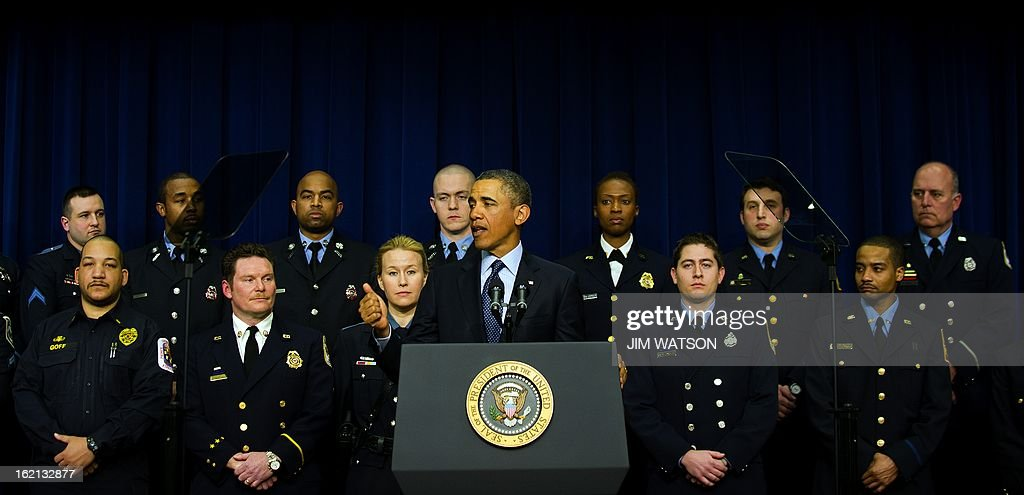 US President Barack Obama delivers remarks joined by emergency responders to urge action to avoid the automatic budget cuts scheduled to hit next Friday if Congress fails to find a path forward on balanced deficit reduction during an event at the White House in Washington, DC, February 19, 2013. AFP PHOTO/Jim WATSON