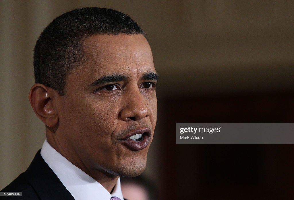 US President <a gi-track='captionPersonalityLinkClicked' href=/galleries/search?phrase=Barack+Obama&family=editorial&specificpeople=203260 ng-click='$event.stopPropagation()'>Barack Obama</a> delivers remarks on health care reform in the East Room at the White House on March 3, 2010 in Washington, DC. President Obama called on law makers to give his health care package that is before Congress an up or down vote.
