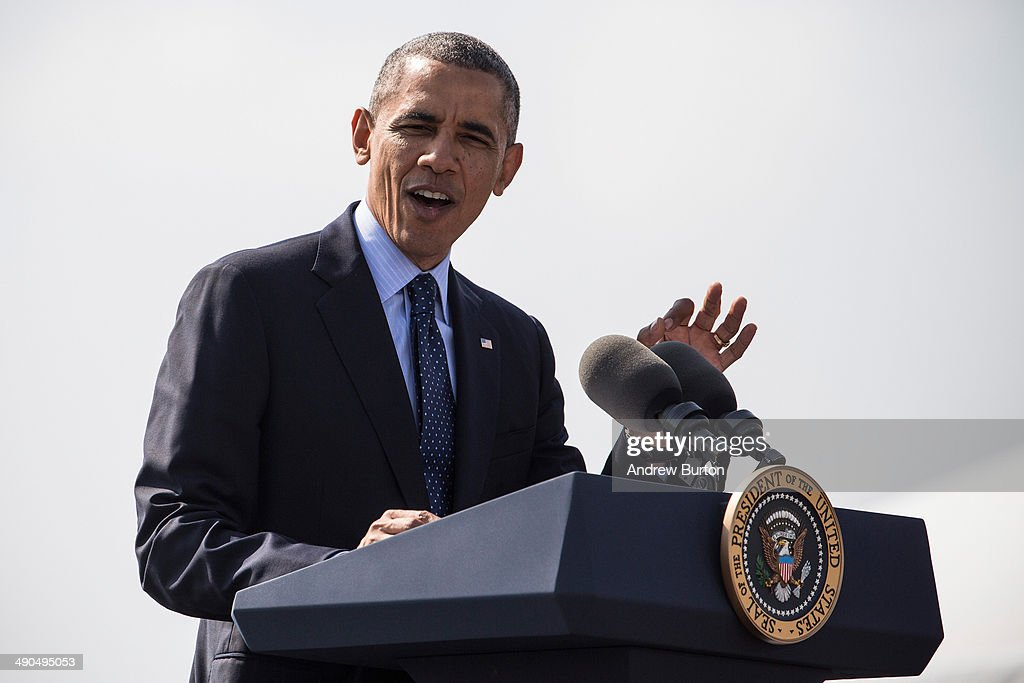 U.S. President Barack Obama delivers remarks on infrastructure in the United Sates at the Washington Irving Boat Club on May 14, 2014 in Tarrytown, New York. Tomorrow President Obama will attend the opening of the National September 11 Memorial and Museum.