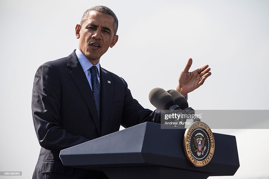 U.S. President <a gi-track='captionPersonalityLinkClicked' href=/galleries/search?phrase=Barack+Obama&family=editorial&specificpeople=203260 ng-click='$event.stopPropagation()'>Barack Obama</a> delivers remarks on infrastructure in the United Sates at the Washington Irving Boat Club on May 14, 2014 in Tarrytown, New York. Tomorrow President Obama will attend the opening of the National September 11 Memorial and Museum.