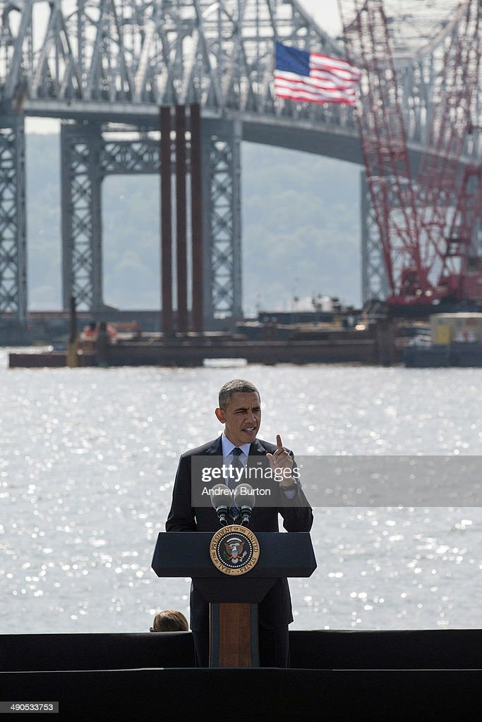 U.S. President <a gi-track='captionPersonalityLinkClicked' href=/galleries/search?phrase=Barack+Obama&family=editorial&specificpeople=203260 ng-click='$event.stopPropagation()'>Barack Obama</a> delivers remarks on infrastructure in the United States at the Washington Irving Boat Club on May 14, 2014 in Tarrytown, New York. Tomorrow President Obama will attend the opening of the National September 11 Memorial and Museum.