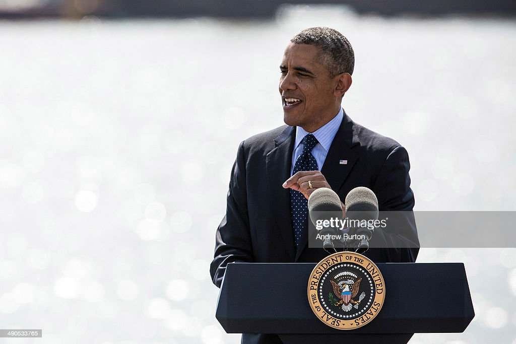 U.S. President Barack Obama delivers remarks on infrastructure in the United States at the Washington Irving Boat Club on May 14, 2014 in Tarrytown, New York. Tomorrow President Obama will attend the opening of the National September 11 Memorial and Museum.