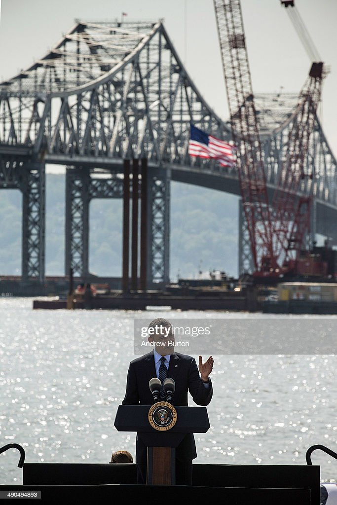 U.S. President Barack Obama delivers remarks on infrastructure in the United Sates with the Tappan Zee Bridge and construction for a new bridge as a backdrop at the Washington Irving Boat Club on May 14, 2014 in Tarrytown, New York. Tomorrow President Obama will attend the opening of the National September 11 Memorial and Museum.