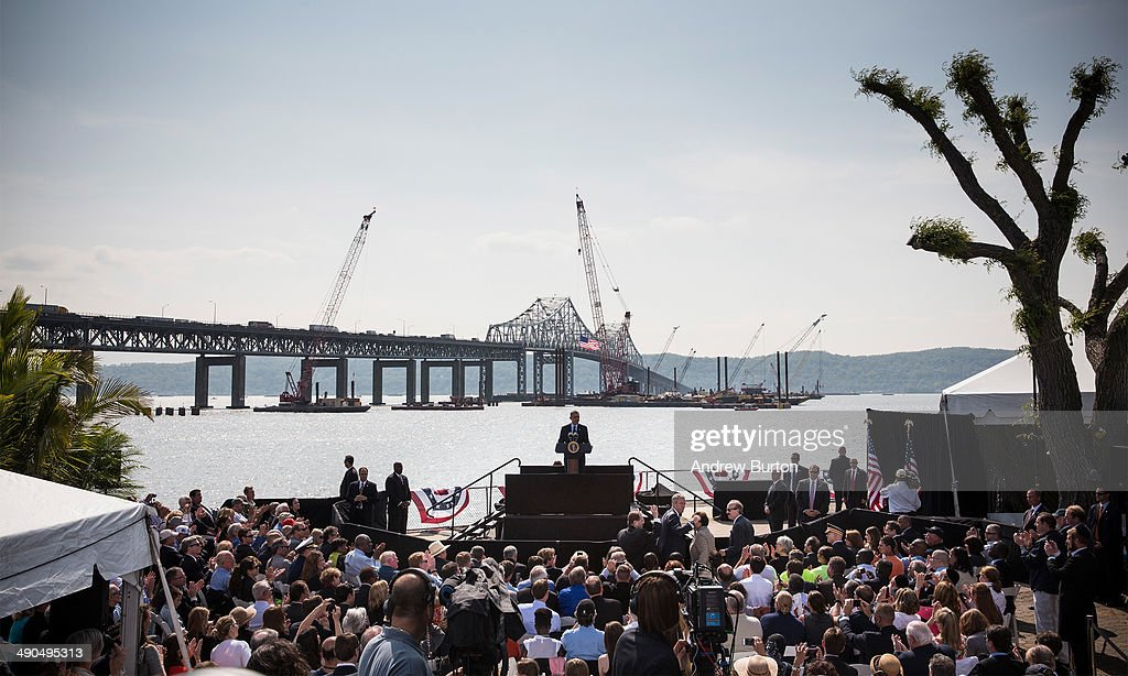 U.S. President Barack Obama delivers remarks on infrastructure in the United States with the Tappan Zee Bridge and construction for a new bridge as a backdrop at the Washington Irving Boat Club on May 14, 2014 in Tarrytown, New York. Tomorrow President Obama will attend the opening of the National September 11 Memorial and Museum.