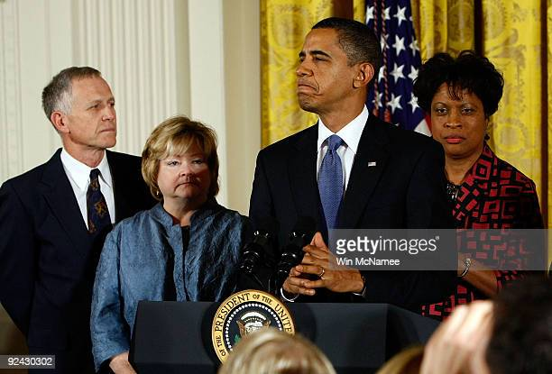 S President Barack Obama delivers remarks on the enactment of the 'Matthew Shepard and James Byrd Jr Hate Crimes Prevention Act' in the East Room of...