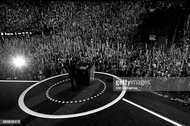 US President Barack Obama delivers remarks on the third day of the Democratic National Convention at the Wells Fargo Center July 27 2016 in...