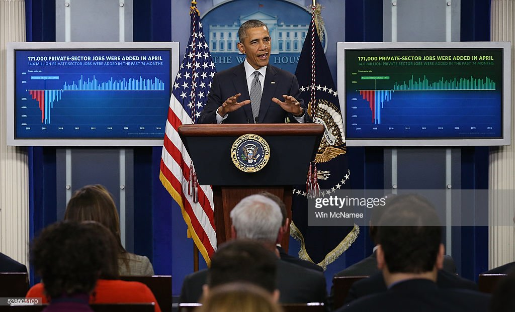 U.S. President Barack Obama delivers remarks on the U.S economy from the briefing room of the White House May 6, 2016 in Washington, DC. The U.S. economy added 160,000 new jobs in April and unemployment remained at 5%.