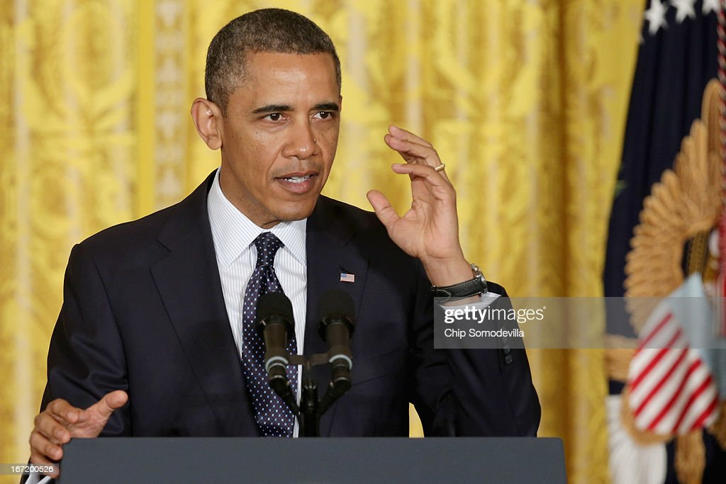 U.S. President <a gi-track='captionPersonalityLinkClicked' href=/galleries/search?phrase=Barack+Obama&family=editorial&specificpeople=203260 ng-click='$event.stopPropagation()'>Barack Obama</a> delivers remarks praising the student winners of the third annual White House Science Fair in the East Room of the White House April 22, 2013 in Washington, DC. During the celebration of science, technology, engineering and math (STEM) competition winners from across the country, Obama annunced the creation of STEM AmeriCorps. According to the White House, 'This effort will place national service members in nonprofits that mobilize STEM professionals to inspire young people to excel in STEM education.'