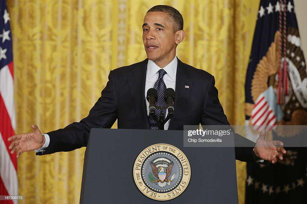 U.S. President <a gi-track='captionPersonalityLinkClicked' href=/galleries/search?phrase=Barack+Obama&family=editorial&specificpeople=203260 ng-click='$event.stopPropagation()'>Barack Obama</a> delivers remarks praising the student winners of the third annual White House Science Fair in the East Room of the White House April 22, 2013 in Washington, DC. During the celebration of science, technology, engineering and math (STEM) competition winners from across the country, Obama announced the creation of STEM AmeriCorps. According to the White House, 'This effort will place national service members in nonprofits that mobilize STEM professionals to inspire young people to excel in STEM education.'