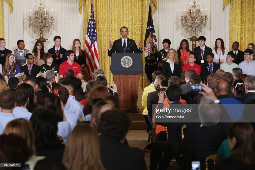 U.S. President Barack Obama delivers remarks praising the student winners of the third annual White House Science Fair in the East Room of the White House April 22, 2013 in Washington, DC. During the celebration of science, technology, engineering and math (STEM) competition winners from across the country, Obama announced the creation of STEM AmeriCorps. According to the White House, 'This effort will place national service members in nonprofits that mobilize STEM professionals to inspire young people to excel in STEM education.'