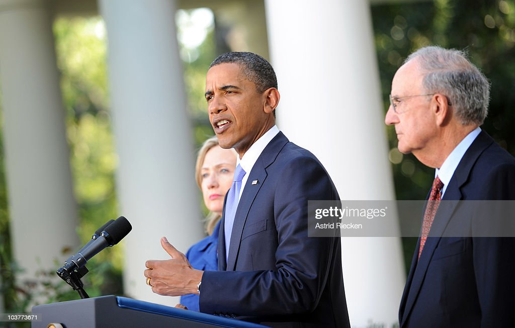 U.S. President Barack Obama (C) delivers remarks to the press on the Mideast peace talks as Secretary of State Hillary Clinton (L) and George Mitchell, Special Envoy to the Middle East, stand by in the Rose Garden at the White House September 1, 2010 in Washington, DC. The White House has kicked off the first new round of direct peace talks in more than 18 months with leaders of Middle East countries, including Palestinian Authority President Mahmoud Abbas, Israeli Prime Minister Benjamin Netanyahu, Egyptian President Hosni Mubarak and Jordanian King Abdullah II.
