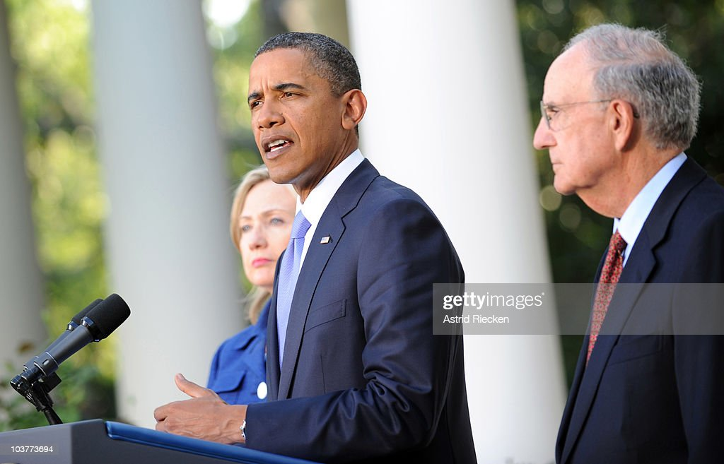 U.S. President <a gi-track='captionPersonalityLinkClicked' href=/galleries/search?phrase=Barack+Obama&family=editorial&specificpeople=203260 ng-click='$event.stopPropagation()'>Barack Obama</a> (C) delivers remarks to the press on the Mideast peace talks as Secretary of State <a gi-track='captionPersonalityLinkClicked' href=/galleries/search?phrase=Hillary+Clinton&family=editorial&specificpeople=76480 ng-click='$event.stopPropagation()'>Hillary Clinton</a> (L) and George Mitchell, Special Envoy to the Middle East, stand by in the Rose Garden at the White House September 1, 2010 in Washington, DC. The White House has kicked off the first new round of direct peace talks in more than 18 months with leaders of Middle East countries, including Palestinian Authority President Mahmoud Abbas, Israeli Prime Minister Benjamin Netanyahu, Egyptian President Hosni Mubarak and Jordanian King Abdullah II.