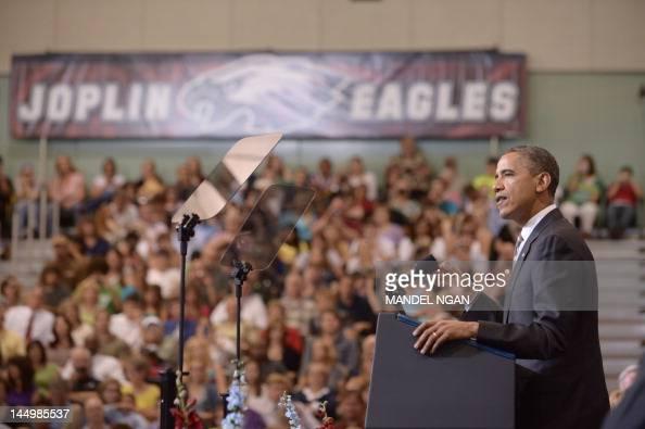 US President Barack Obama delivers the commencement address at Joplin High School on May 21 2012 in Joplin Missouri AFP PHOTO/Mandel NGAN