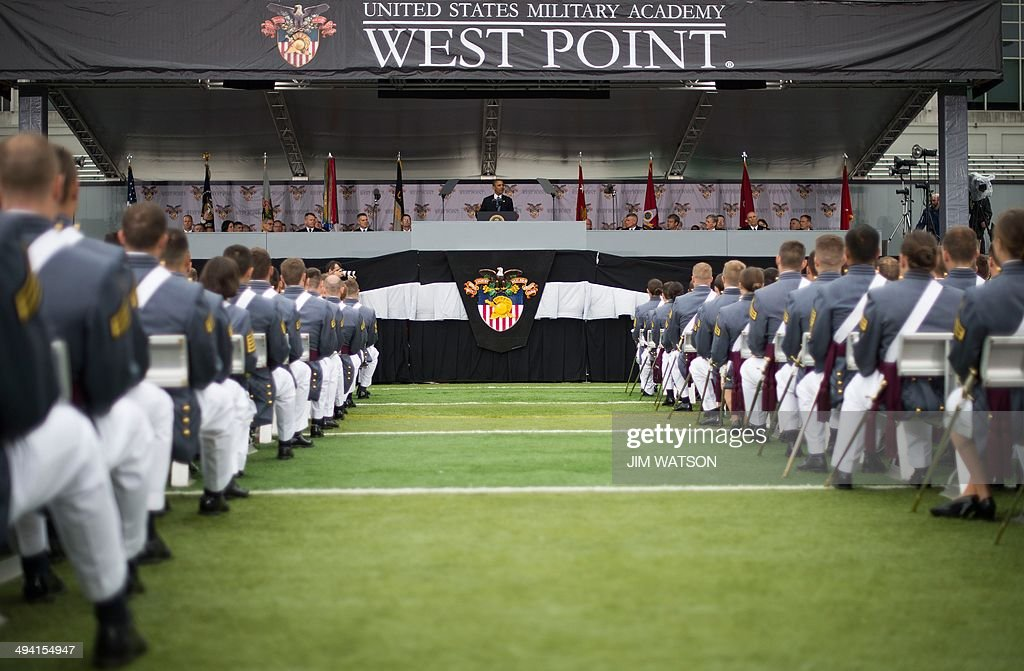 US President Barack Obama delivers the commencement address to the 2014 graduating class at the United States Military Academy at West Point New York...
