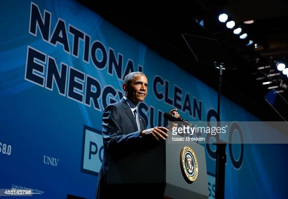 President Barack Obama delivers the keynote speech during the National Clean Energy Summit 80 at the Mandalay Bay Convention Center on August 24 2015...