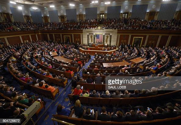 US President Barack Obama delivers the State of the Union Address during a Joint Session of Congress at the US Capitol in Washington DC January 12...