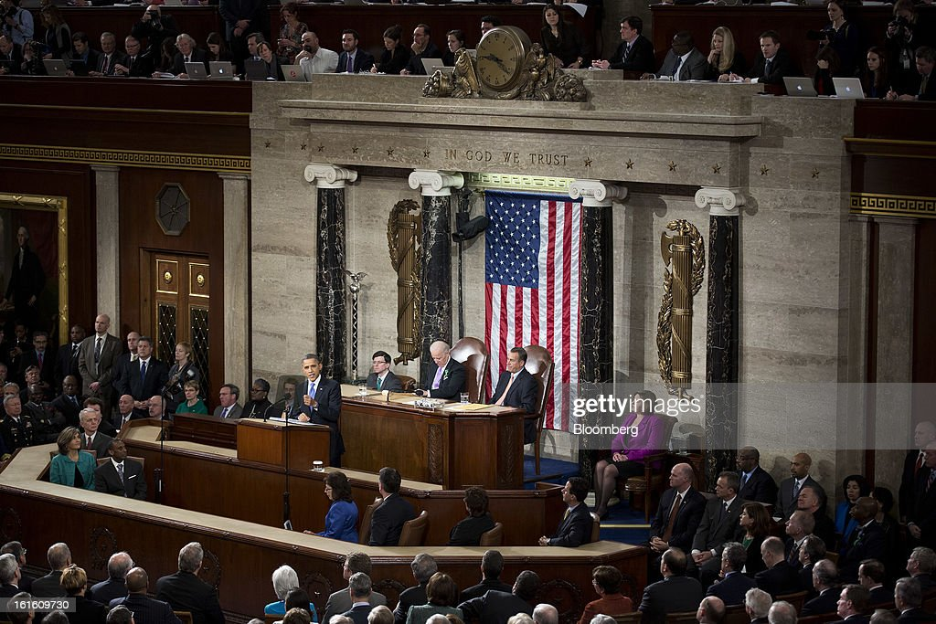 U.S. President Barack Obama delivers the State of the Union address to a joint session of Congress at the Capitol in Washington, D.C., U.S., on Tuesday, Feb. 12, 2013. Obama called for raising the federal minimum wage to $9 an hour and warned he'll use executive powers to get his way on issues from climate change to manufacturing if Congress doesn't act, laying out an assertive second-term agenda sure to provoke Republicans. Photographer: Joshua Roberts/Bloomberg via Getty Images
