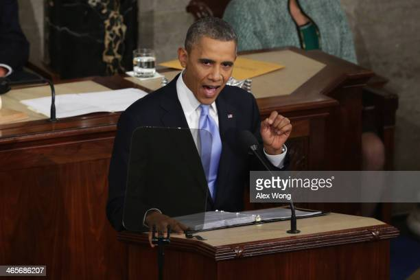 US President Barack Obama delivers the State of the Union address to a joint session of Congress in the House Chamber at the US Capitol on January 28...