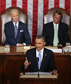 S President Barack Obama delivers the State of the Union address to a joint session of Congress as US Vice President Joe Biden and Speaker of the...