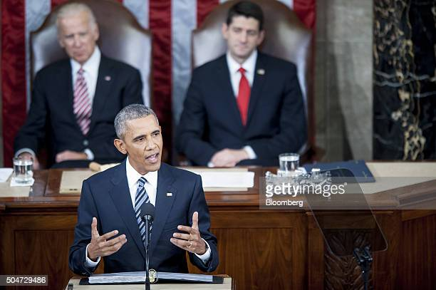US President Barack Obama delivers the State of the Union address to a joint session of Congress at the Capitol in Washington DC US on Tuesday Jan 12...