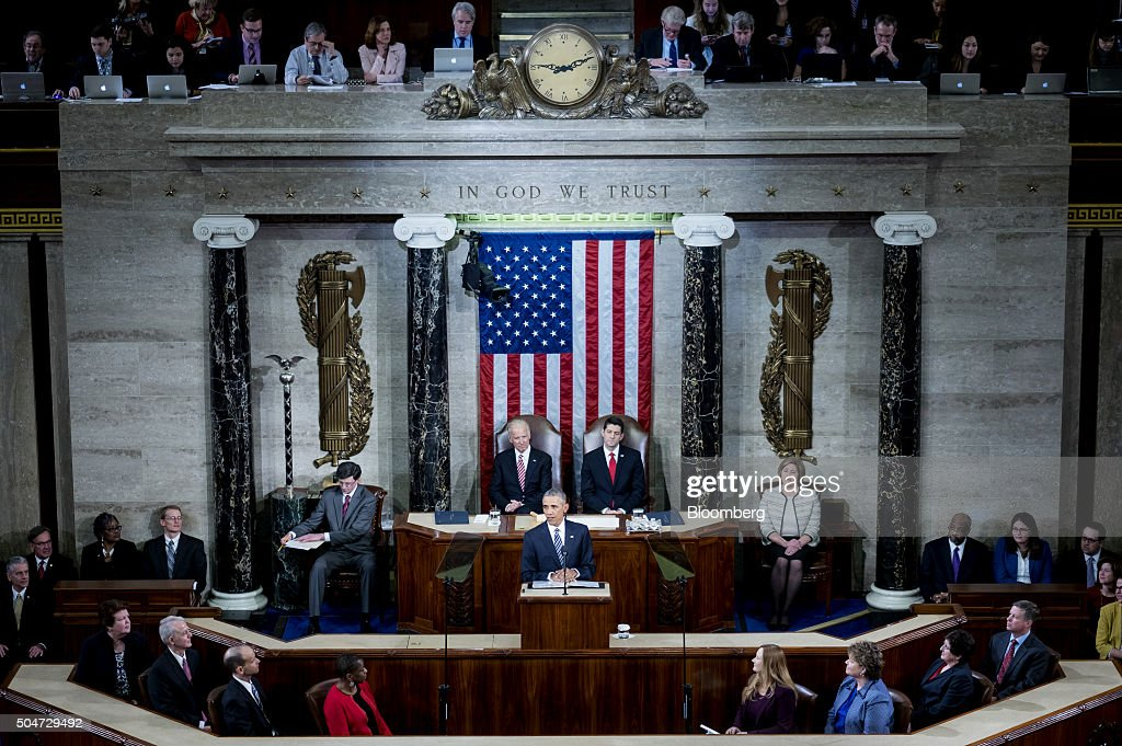 U.S. President Barack Obama delivers the State of the Union address to a joint session of Congress at the Capitol in Washington, D.C., U.S., on Tuesday, Jan. 12, 2016. Obama said he regrets that political divisiveness in the U.S. grew during his seven years in the White House and he plans to use his final State of the Union address Tuesday night to call for the nation to unite. Photographer: Pete Marovich/Bloomberg via Getty Images