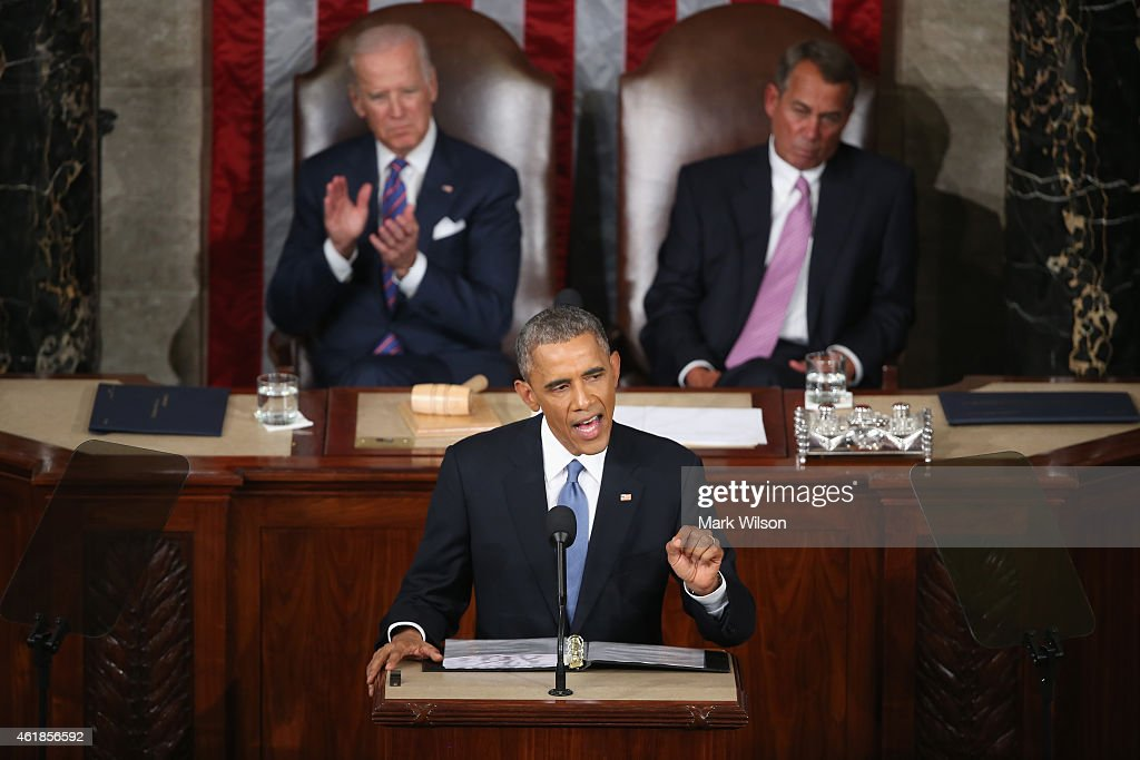 S President Barack Obama delivers the State of the Union speech before members of Congress in the House chamber of the US CapitolJanuary 20 2015 in...