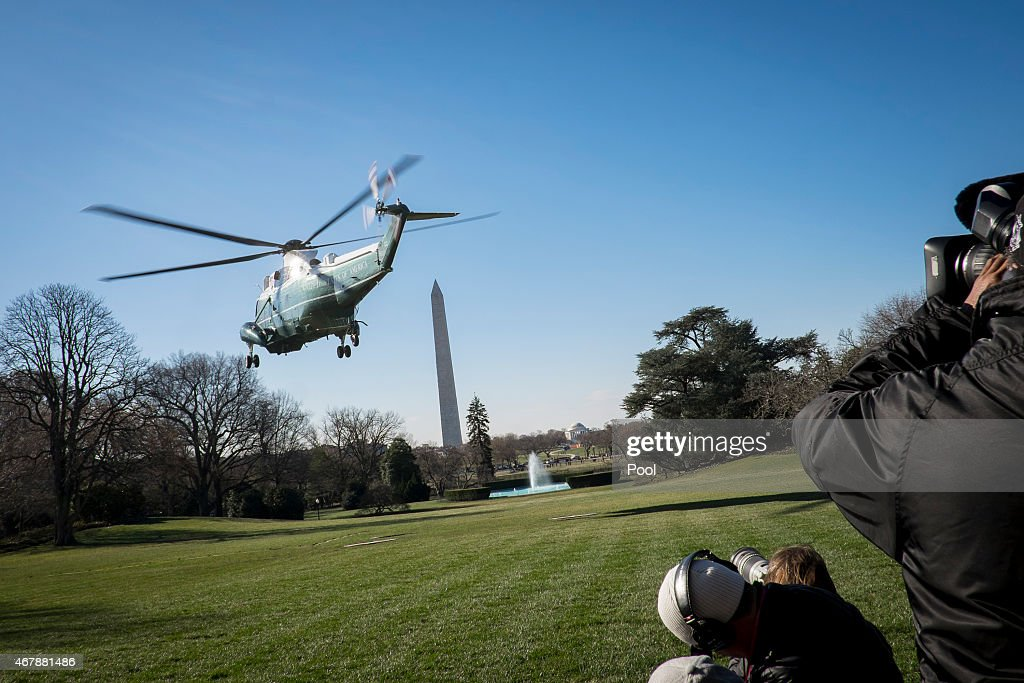 S President Barack Obama departs aboard Marine One from the South Lawn of the White House on March 28 2015 in Washington DC The President is...
