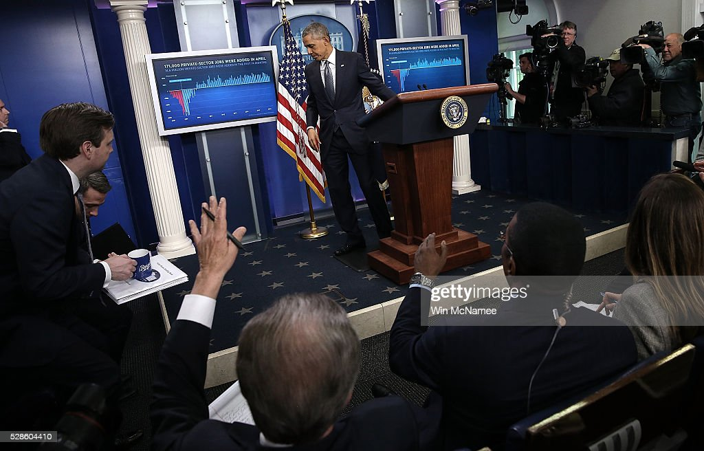 U.S. President Barack Obama departs after delivering remarks on the U.S economy from the briefing room of the White House May 6, 2016 in Washington, DC. The U.S. economy added 160,000 new jobs in April and unemployment remained at 5%.